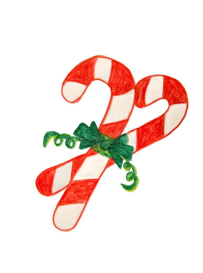 有绿色磁带的,在白色隔绝的水彩绘画红色圣诞节棒棒糖 库存图片