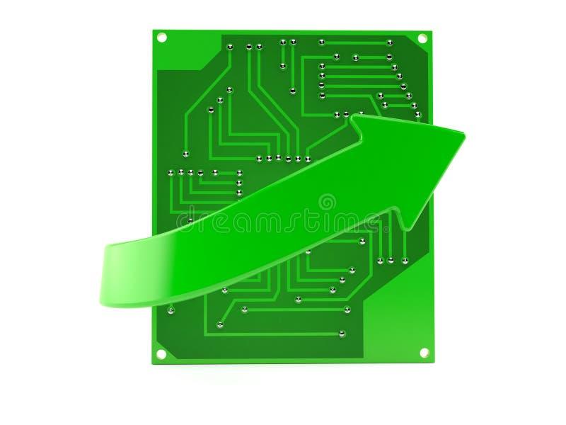 有绿色箭头的电路板 库存例证