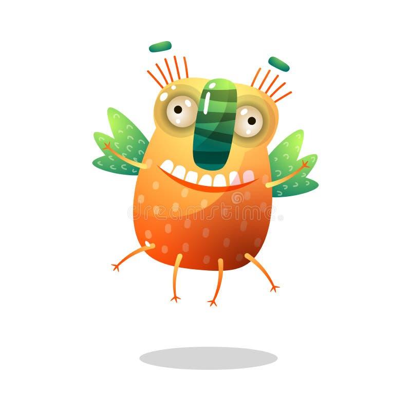有绿色翼的逗人喜爱的滑稽的橙色妖怪是飞行 向量例证