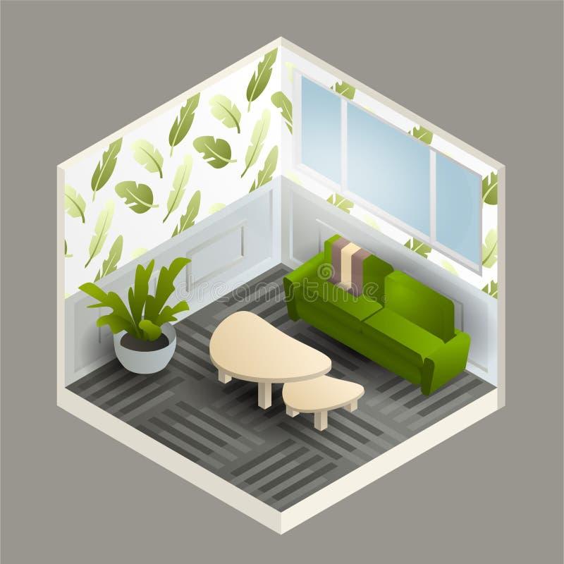 有绿色长沙发、植物和小桌的等量客厅 与花卉样式的墙纸 库存照片