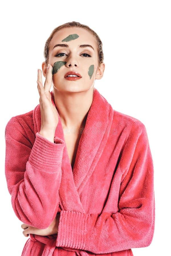 有绿色facec面具的妇女 免版税库存图片