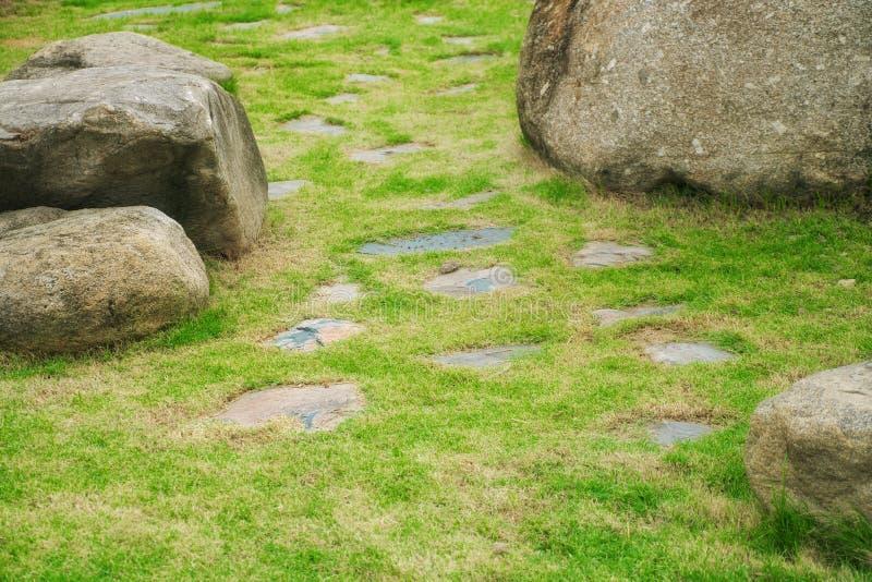 有绿草草坪的石走道和大岩石在庭院里 库存照片