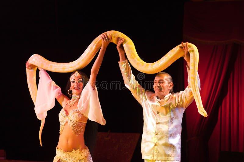 有缩窄器蛇的马戏艺术家 免版税图库摄影