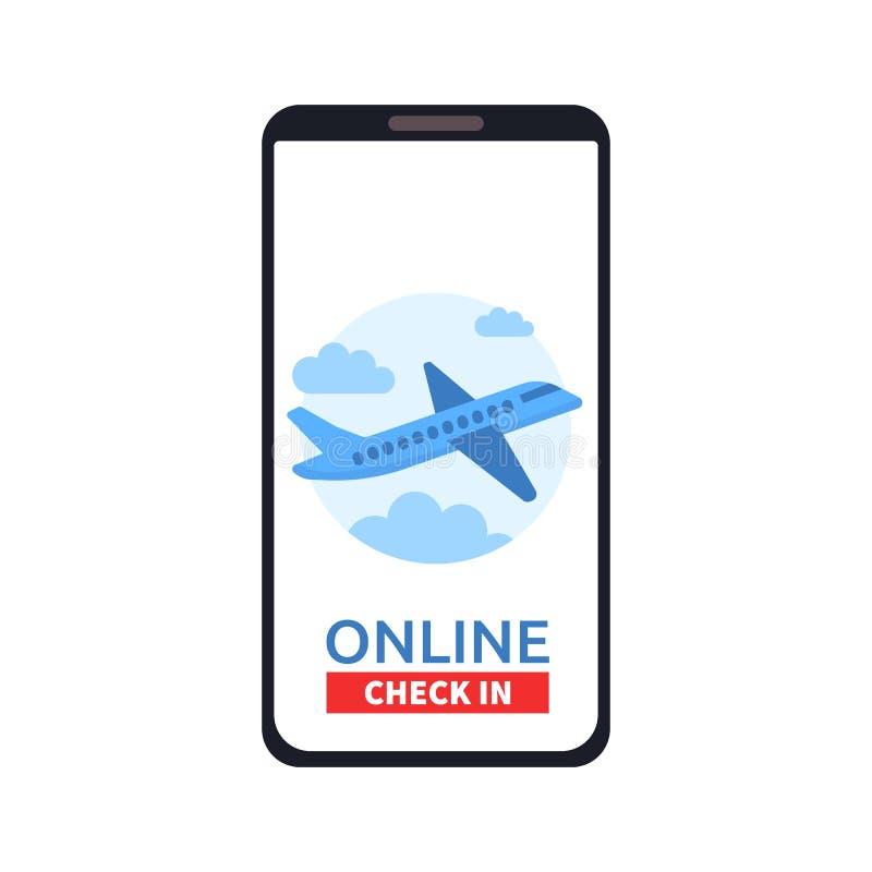 有网上的智能手机登记在屏幕上的按钮和飞机象 流动应用的概念 旅行,事务 向量例证