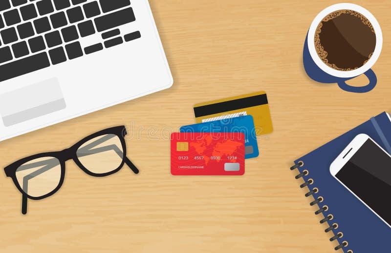 有网上付款和购物的三张信用卡概念的现实工作场所 向量例证