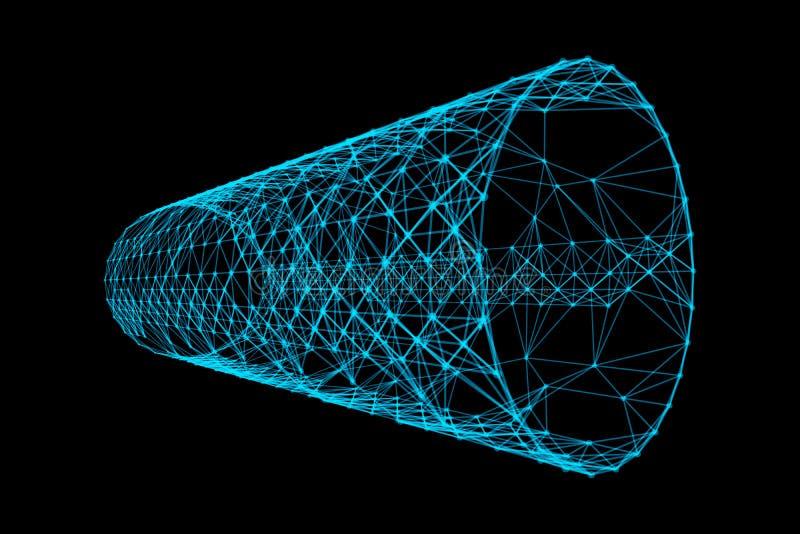 有网络连接样式线的蓝色隧道 在数字电脑技术概念,速度运动的高科技背景 3d 皇族释放例证