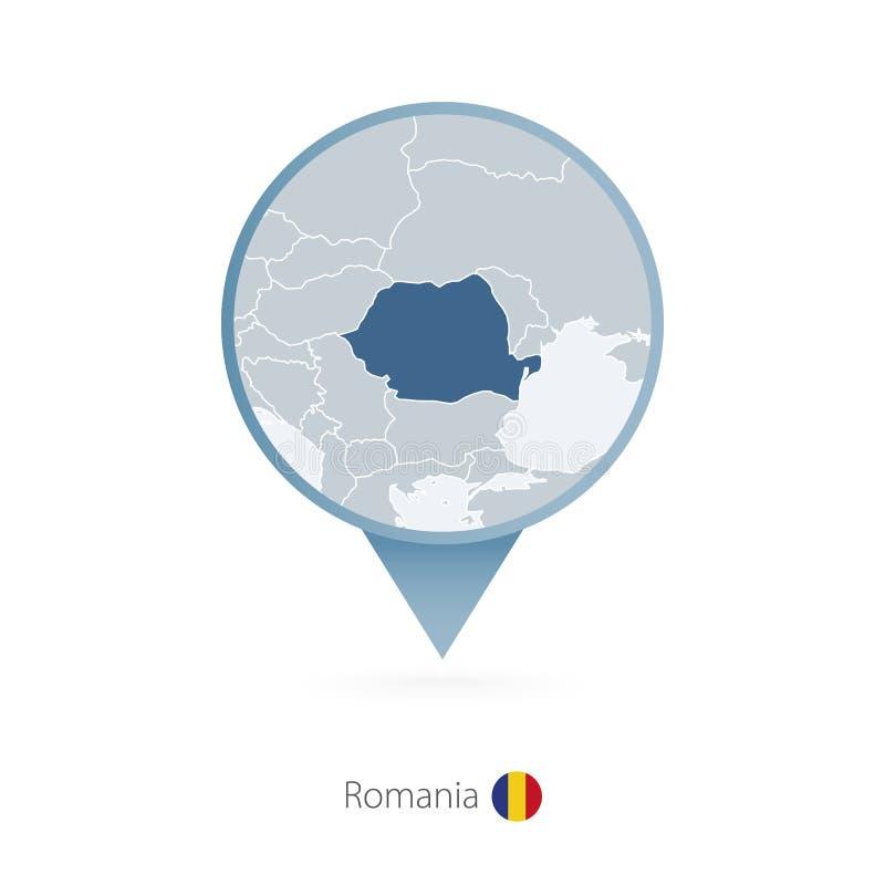 有罗马尼亚和邻国详细的地图的地图别针  库存例证
