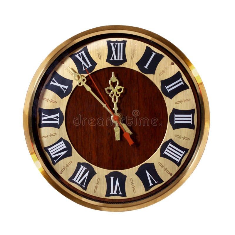 有罗马数字的老时钟 库存照片