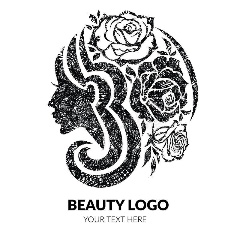 有美丽的头发和花的妇女与难看的东西纹理 皇族释放例证