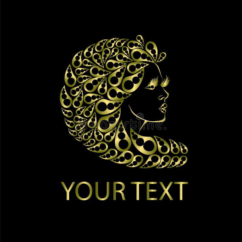 有美丽的头发的图表妇女 徽标 免版税库存照片