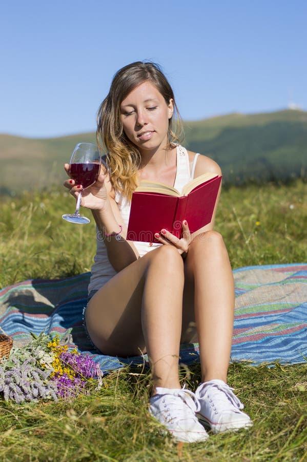 有美丽的少妇在草甸,阅读书, smi的野餐 免版税库存图片