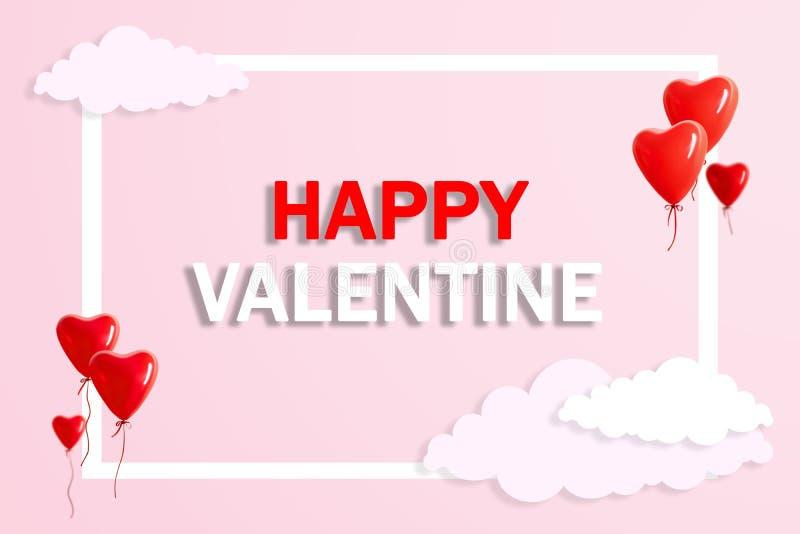 有美丽的空中云彩的心形的气球在桃红色背景 概念亲吻妇女的爱人 库存例证