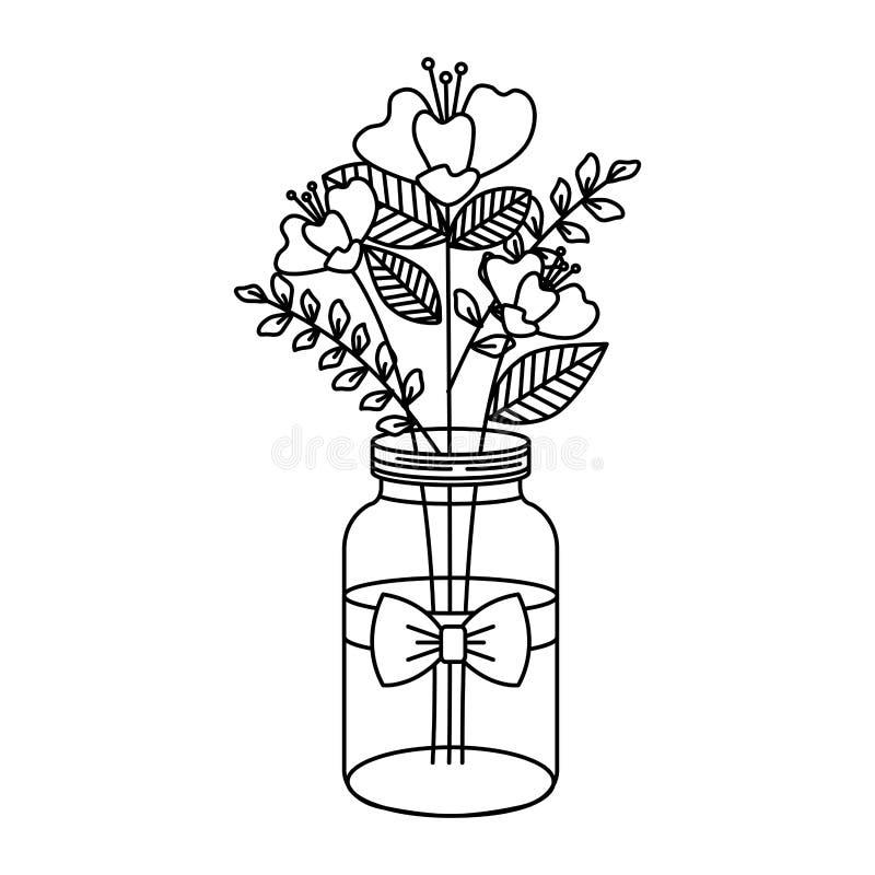 有美丽的花装饰的金属螺盖玻璃瓶 皇族释放例证