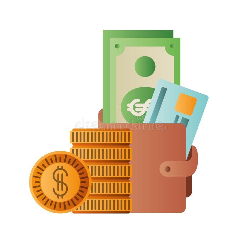 有美元和硬币被隔绝的象的钱包 向量例证