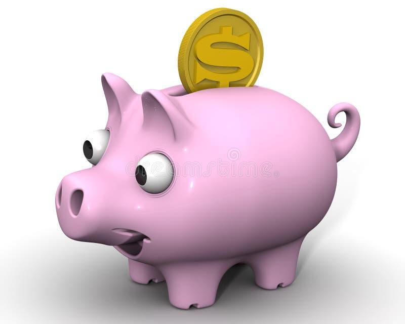 有美元的硬币的猪存钱罐 向量例证