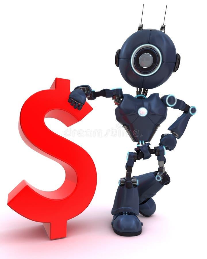有美元的符号的机器人 库存例证