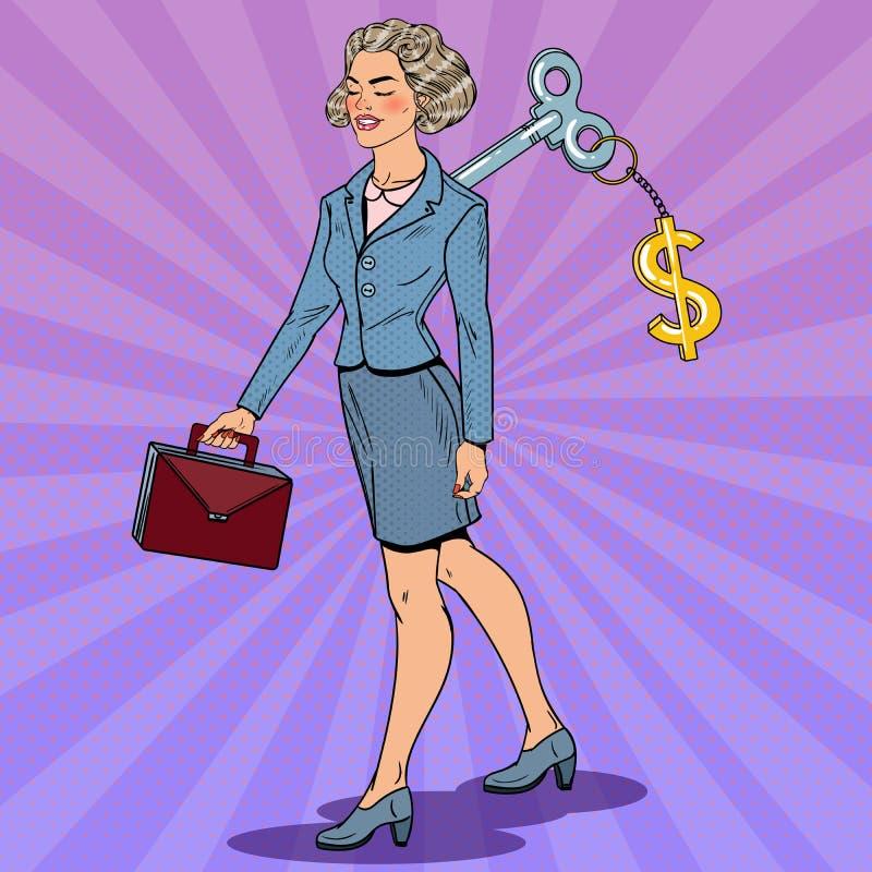 有美元的符号钥匙的女商人在她 工作自动化 流行艺术例证 向量例证