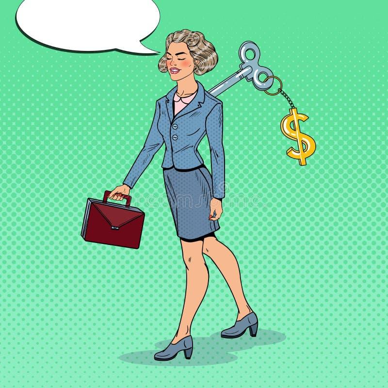 有美元的符号钥匙的机械女商人在她 工作自动化 流行艺术例证 向量例证