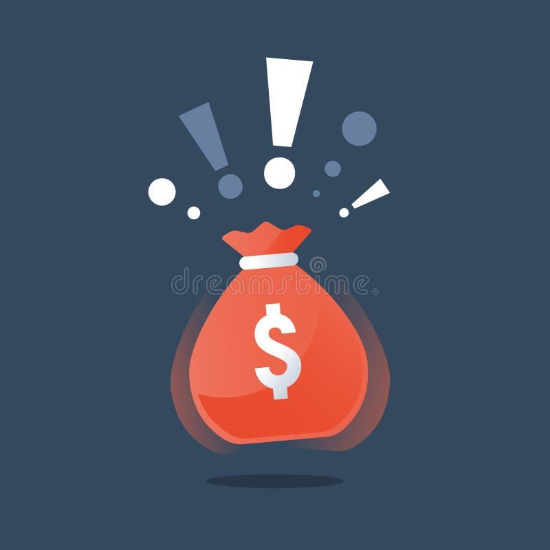 有美元的金钱大袋,超级得奖的巨大的袋子现金,赢取的盛大抽奖,赌博娱乐场困境,大资金 库存例证
