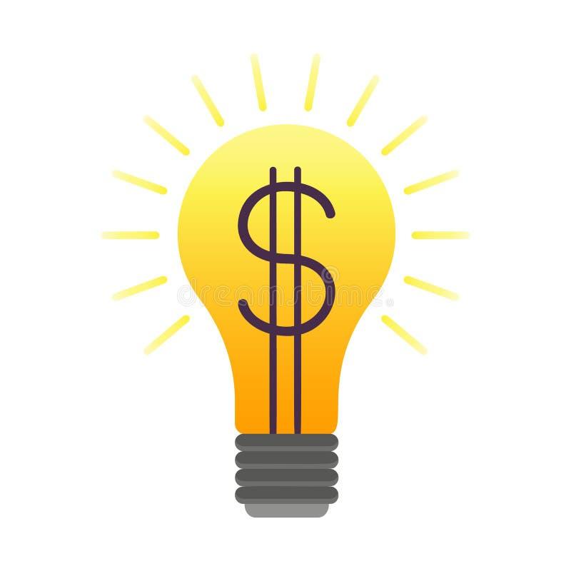 与的平的财务标志美元的符号橙色电灯泡