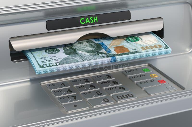 有美元的ATM机器 撤出美元钞票,3D翻译 皇族释放例证