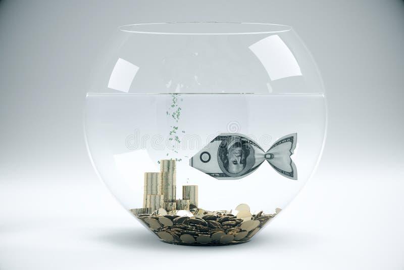有美元鱼的灰色碗 库存例证