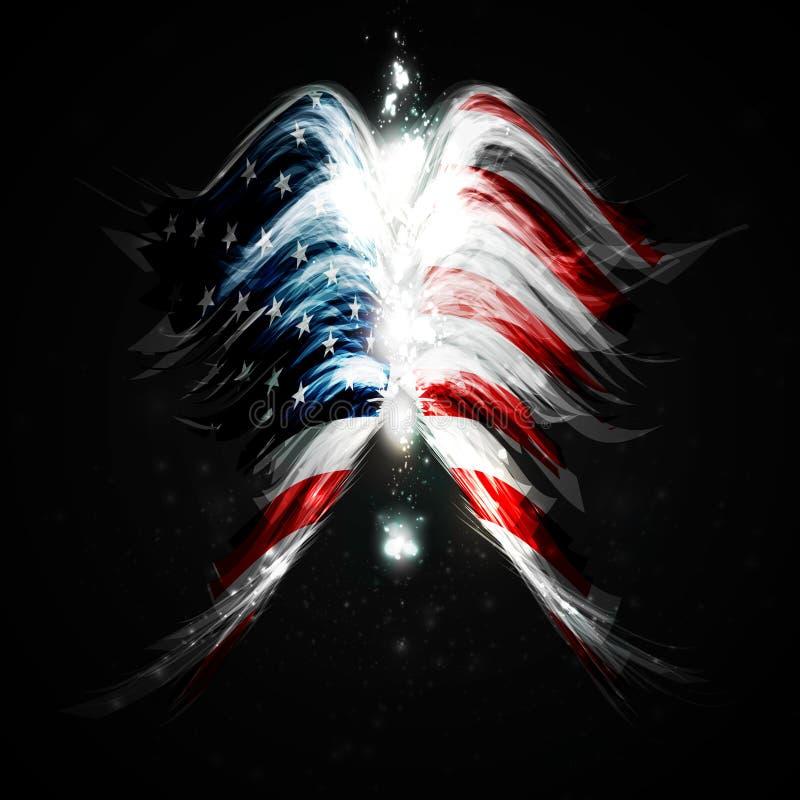 有美国国旗的抽象天使翼 皇族释放例证