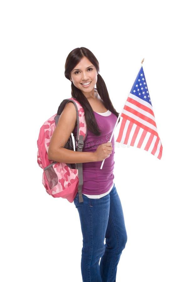 有美国国旗的西班牙少年 库存图片