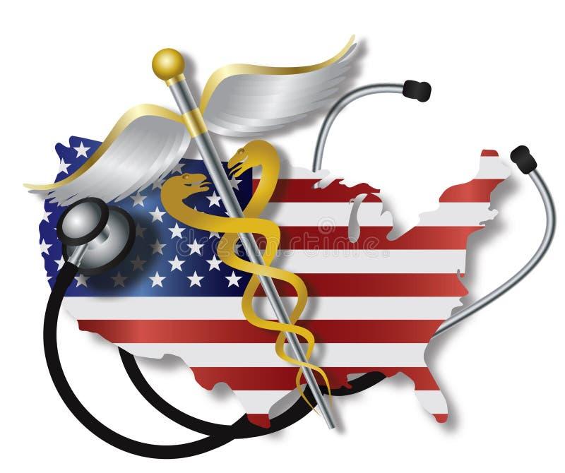 有美国旗子地图和众神使者的手杖的听诊器 向量例证