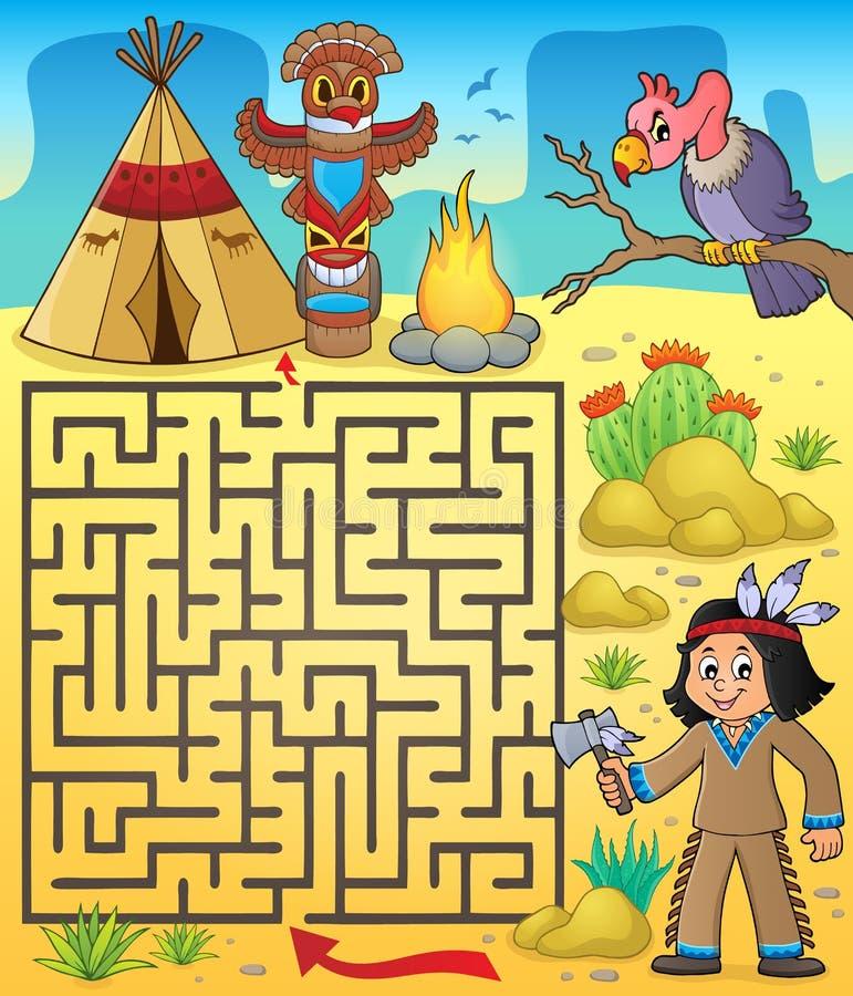 有美国本地人男孩的迷宫3 皇族释放例证