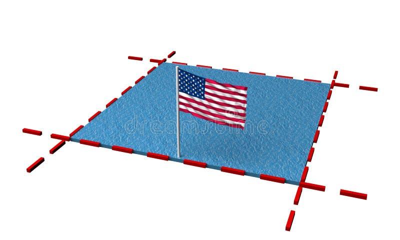 有美国的边界和旗子的部分海 向量例证