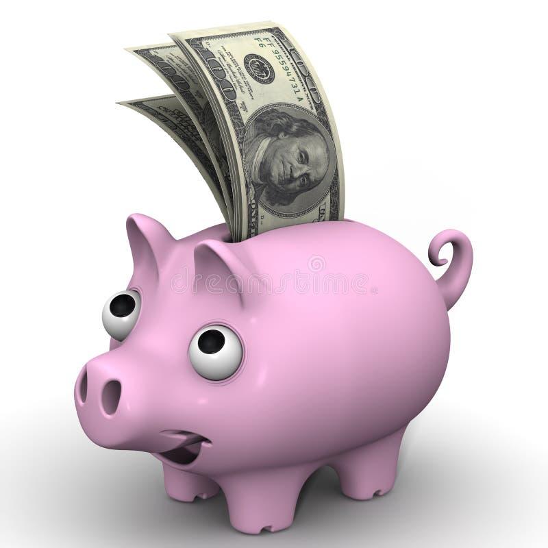 有美国美元的钞票的猪存钱罐 库存例证