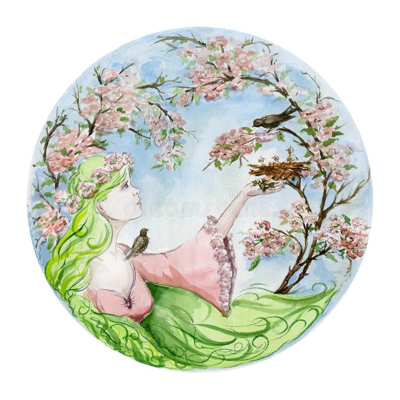 有美国钞票头发的美丽的少妇保存从巢下落了反对在开花的春天树的一只幼鸟 向量例证