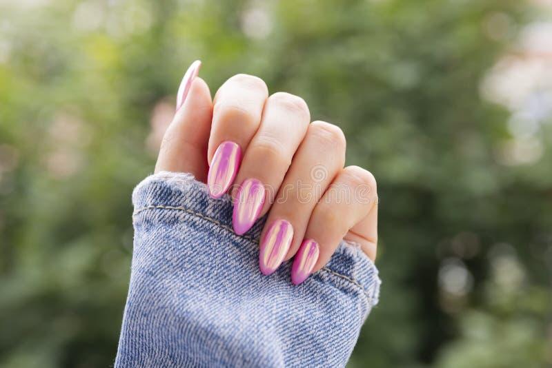 有美好的桃红色修指甲的女性手 免版税库存图片