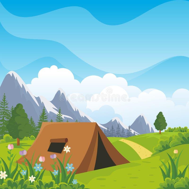 有美好的自然风景的露营地 库存例证
