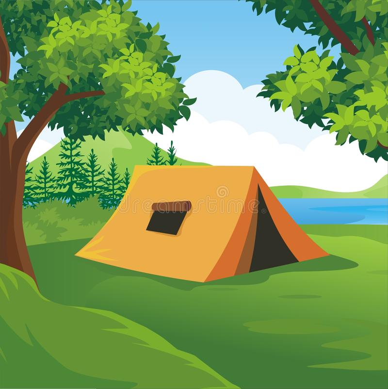 有美好的自然风景的露营地 向量例证
