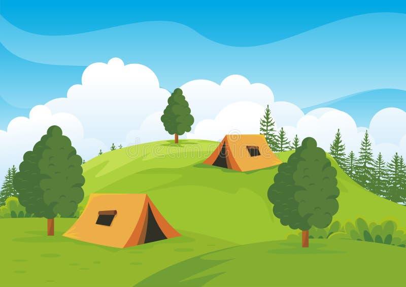 有美好的自然风景的露营地 皇族释放例证