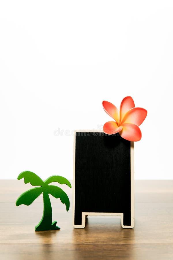 有羽毛和棕榈树的空白的木黑人委员会 免版税库存照片