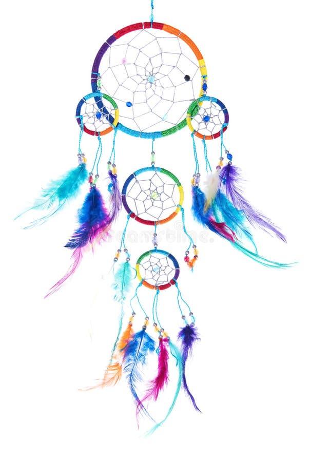 有羽毛的多色的梦想俘获器,与小珠,外缘 皇族释放例证