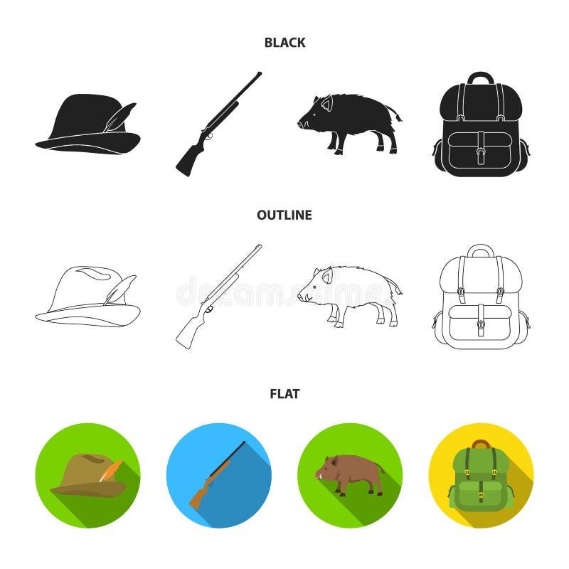 有羽毛的,一个野公猪,步枪,有事的一个背包狩猎帽子 寻找在动画片样式的集合汇集象 库存例证