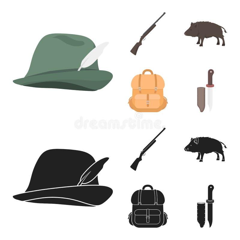 有羽毛的,一个野公猪,步枪,有事的一个背包狩猎帽子 寻找在动画片的集合汇集象,黑 库存例证