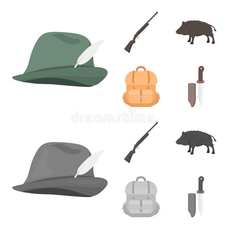 有羽毛的,一个野公猪,步枪,有事的一个背包狩猎帽子 寻找在动画片的集合汇集象 向量例证