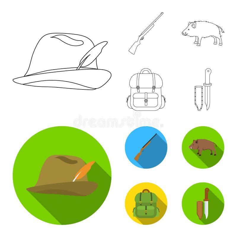 有羽毛的,一个野公猪,步枪,有事的一个背包狩猎帽子 寻找在概述的集合汇集象,舱内甲板 皇族释放例证