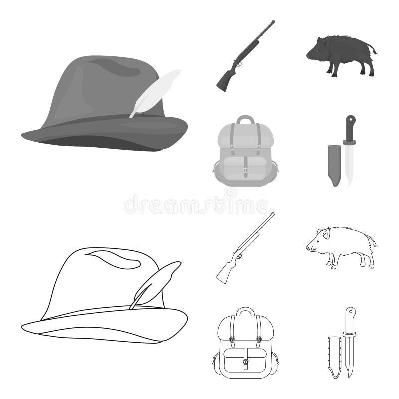 有羽毛的,一个野公猪,步枪,有事的一个背包狩猎帽子 寻找在概述的集合汇集象 皇族释放例证