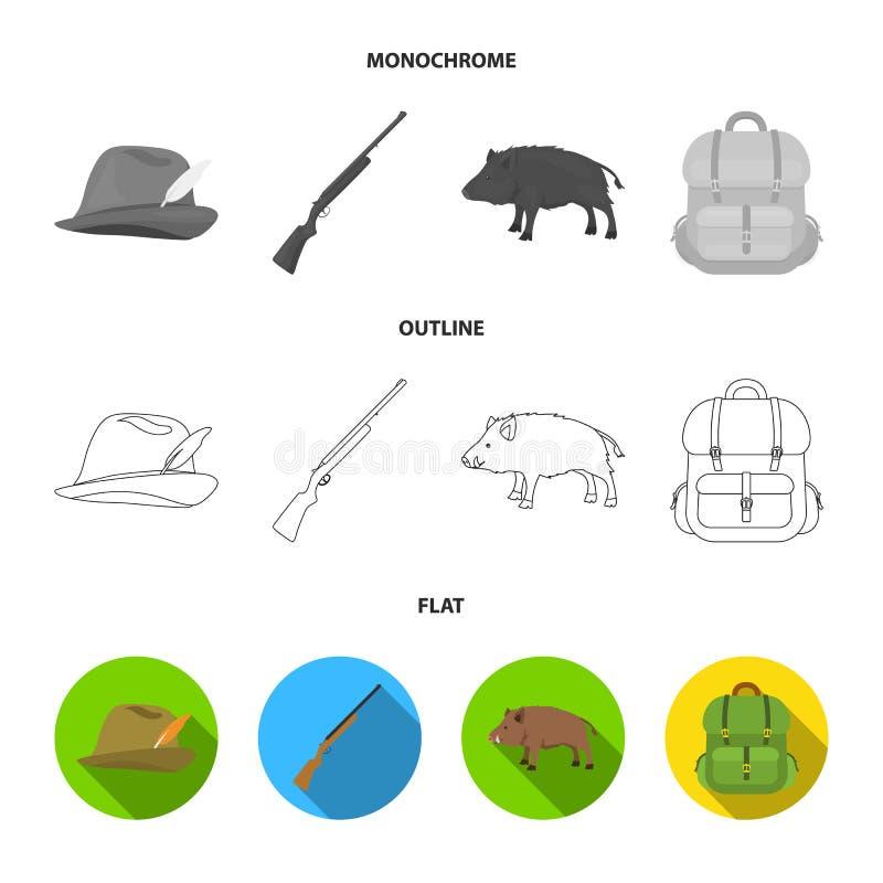 有羽毛的,一个野公猪,步枪,有事的一个背包狩猎帽子 寻找在舱内甲板的集合汇集象,概述 库存例证