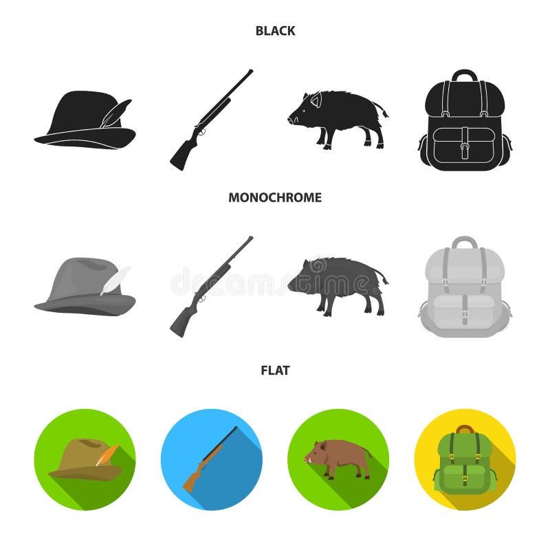 有羽毛的,一个野公猪,步枪,有事的一个背包狩猎帽子 寻找在黑色的集合汇集象,舱内甲板 皇族释放例证