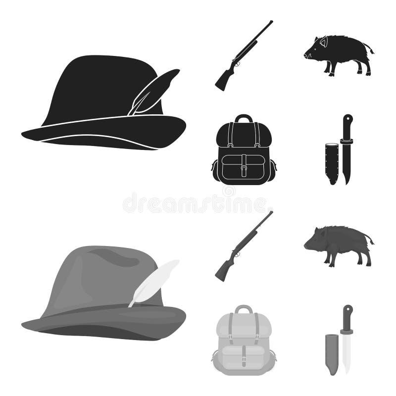 有羽毛的,一个野公猪,步枪,有事的一个背包狩猎帽子 寻找在黑色的集合汇集象 向量例证