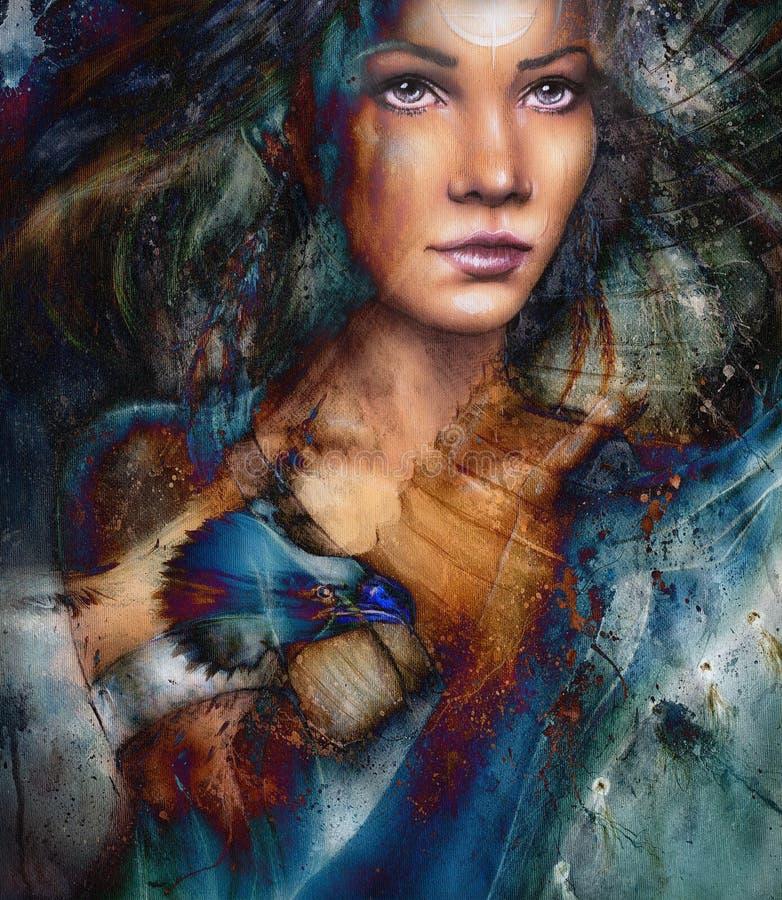 有羽毛的年轻印地安妇女,与装饰纹身花刺,在被构造的抽象背景 向量例证