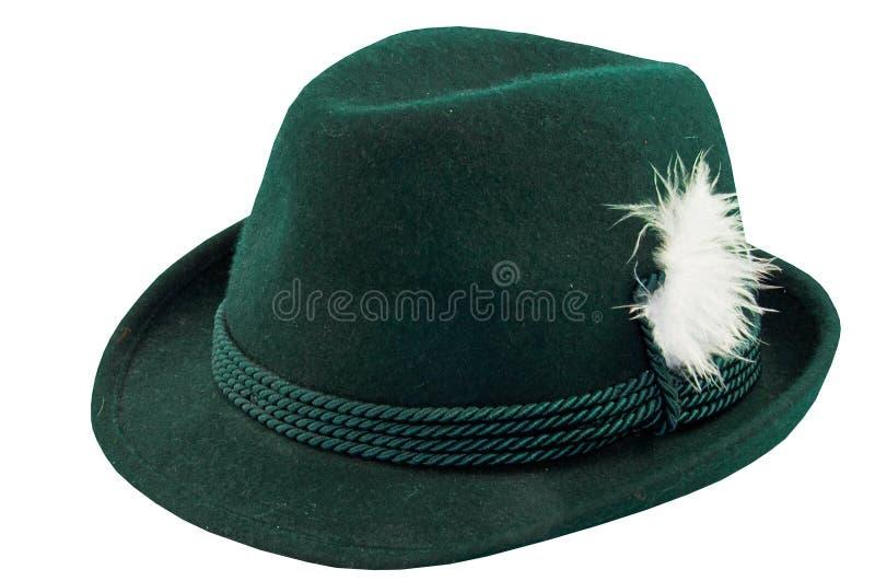 有羽毛的绿色帽子 免版税库存图片