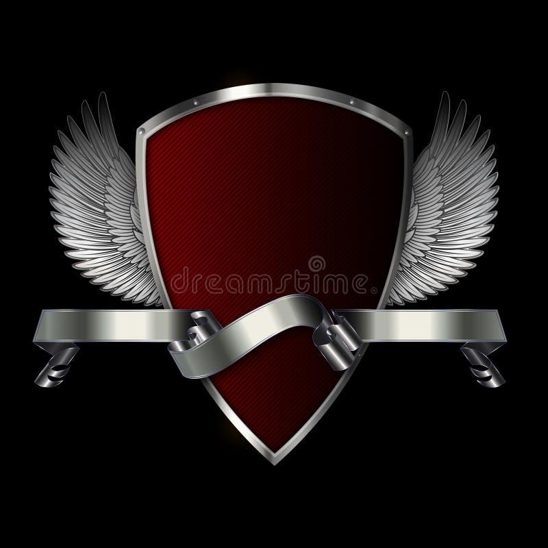 有翼和银色横幅的盾 皇族释放例证